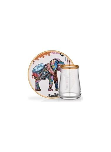 Glore Tarabya Elephant 6'Lı Çay Seti Renkli